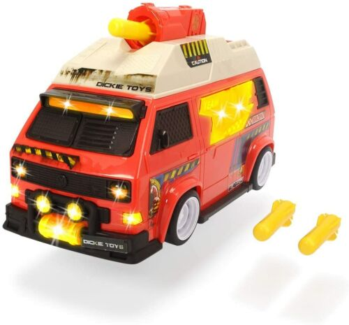 Dickie Toys 203756004 VW T3 Camper Bus Shooting Stars Toy Car with Shooting Func