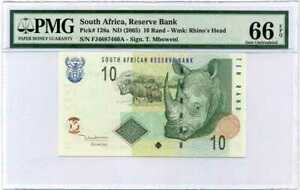SOUTH AFRICA 10 RAND ND 2005 P 128 a SIGN T. MBOWENI GEM UNC PMG 66 EPQ