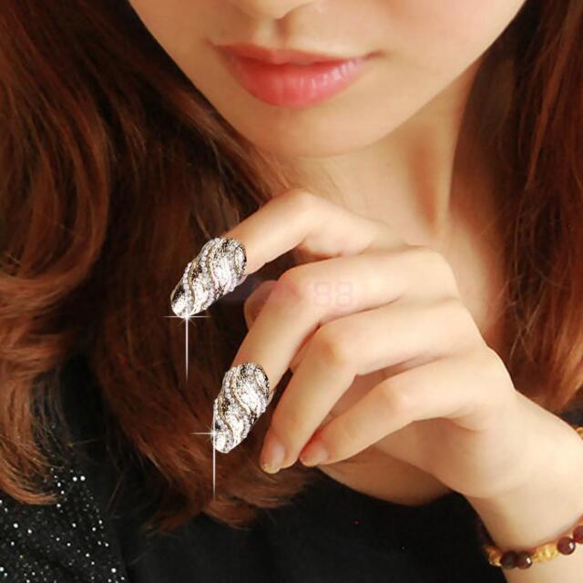 Punk Silver Crystal Rhinestone Wave Nail Art Knuckle Band Finger Tip Ring Xmas