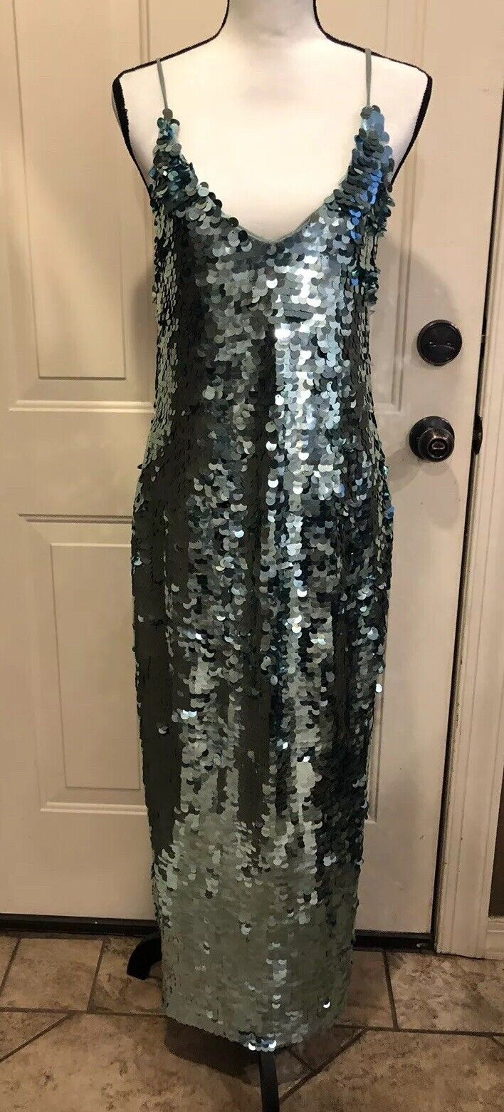 NEW Beautiful Free People Turquoise Sequin Lace Up Maxi Dress Sz S Retail  240