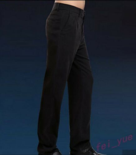 Mens Summer Thin Silk Long Panst Business Casual Breathable Long Loose Trousers