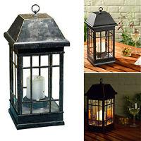Outdoor Solar Lantern Hanging Light Led Pillar Candle Yard Patio Garden Lamp
