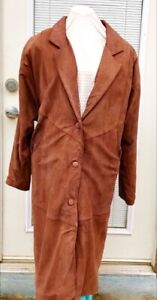 Wilsons-Adventure-Bound-Woman-039-s-Brown-Long-Suede-Trench-Coat