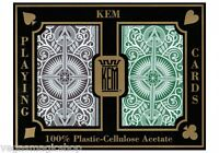 Kem Arrow Plastic Playing Cards 2 Deck Set Brown Green Narrow Bridge Size + Case
