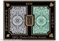 Kem Arrow Plastic Playing Cards 2 Deck Set Brown Green Narrow Bridge Size + Case