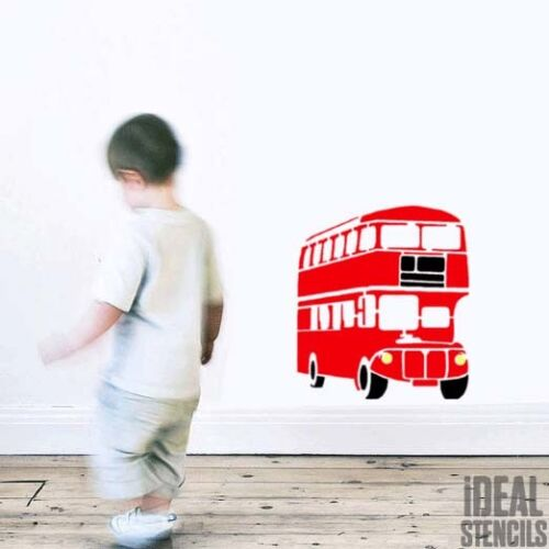 London Red Bus Stencil Nursery Home Decor Art Craft Painting Ideal Stencils Ltd