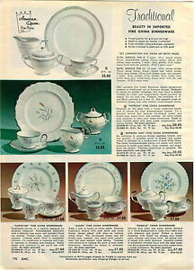 Image is loading 1962-PAPER-AD-3-PG-American-Queen-China- & 1962 PAPER AD 3 PG American Queen China Dinnerware Plates Nina Loyce ...