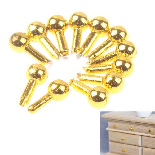 12pcs//bag 1//12 Dollhouse Miniature Golden Drawer Handle Furniture Accessories ri