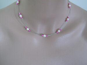 Collier Ivoire Blanc Rose Fuchsia robe de Mariée Mariage Soirée ... 08951487e10c
