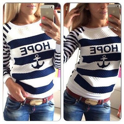 Fashion Casual Womens  Round Neck Pullover T-Shirt Long Sleeve Tops Blouse S-XL