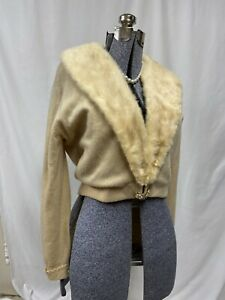 Vintage-100-Cashmere-Cardigan-Sweater-Huge-Mink-Collar-Bernhard-Altmann-M-L