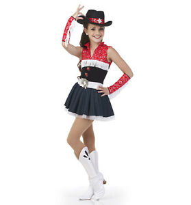 Bandana Two Step Dance Costume Tap Dress Cowgirl Ice Skating Child Small and CXS