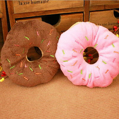 New Pet Puppy Chew Toy Dog Cat Play Squeaker Squeaky Cotton Donut Sound Toys