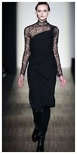 *$498 NEW* MAX AZRIA BCBG Black Bead-Embellished One-Shoulder Dress M LNK6G380