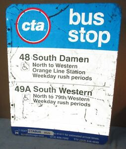 Used-Vtg-CTA-Bus-Stop-48-S-DAMEN-49A-WESTERN-Chicago-Aluminum-Sign-24-x-18-S628