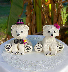 Image Is Loading Polar Bear Wedding Cake Topper Violet And Yellow