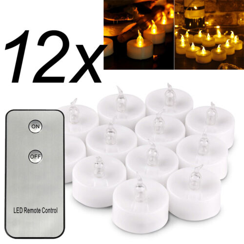 12x LED Teelichter Kerze Flammenlos Kerzen mit Fernbedienung Hochzeit Party Deko