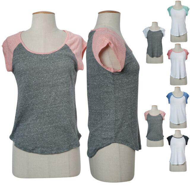 Casual  Color Block Raglan Round Neck Workout Melange Basic Tee Shirt Top S M L