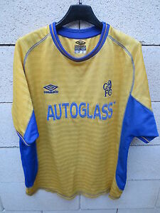 VINTAGE-Maillot-CHELSEA-away-UMBRO-shirt-2002-football-AUTOGLASS-trikot-L-jaune
