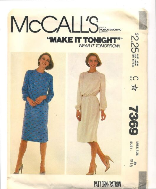 118443721 Vintage 1980 McCalls 7369 Sewing Pattern Misses Slim Dress with Back Zipper  Sz 8