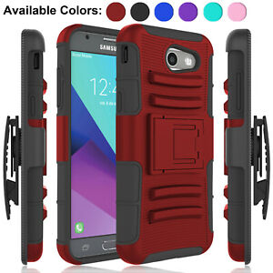 huge discount c7906 3e38c Details about For Samsung Galaxy J3 2017/Luna Pro/Prime/J327A Case  Shockproof Stand Clip Cover
