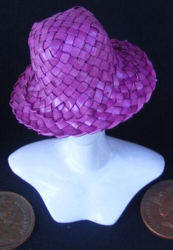 Escala 1:12 señoras púrpura tejido Sombrero de Paja Playa ropa de casa de muñecas accesorio SA
