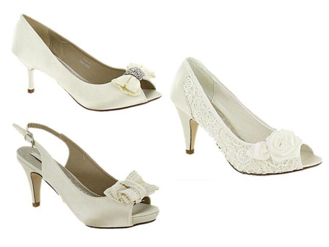Ladies Ivory Satin Lace kitten Heel Bridal Bridesmaid Wedding Sandal Court Shoe