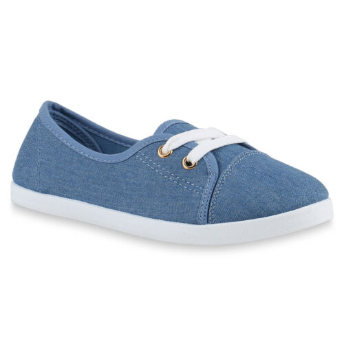 Damen Sneakers Low Basic Turnschuhe Schnürer Freizeit Schuhe 79426 Top