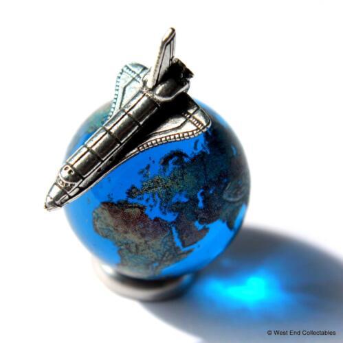 22mm Earth Globe Glass Marble & Miniature Space Shuttle Set -Cosmic Planet World