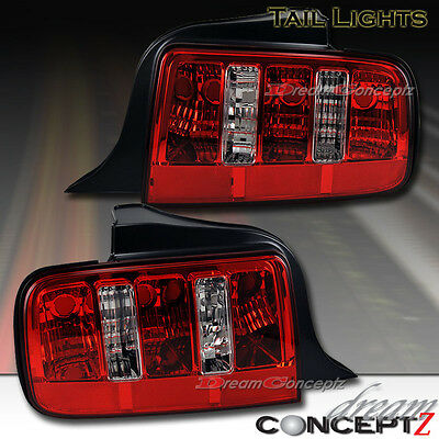 2005 2006 2007 2008 2009 Ford Mustang GT tail lights lamps red / clear lens pair