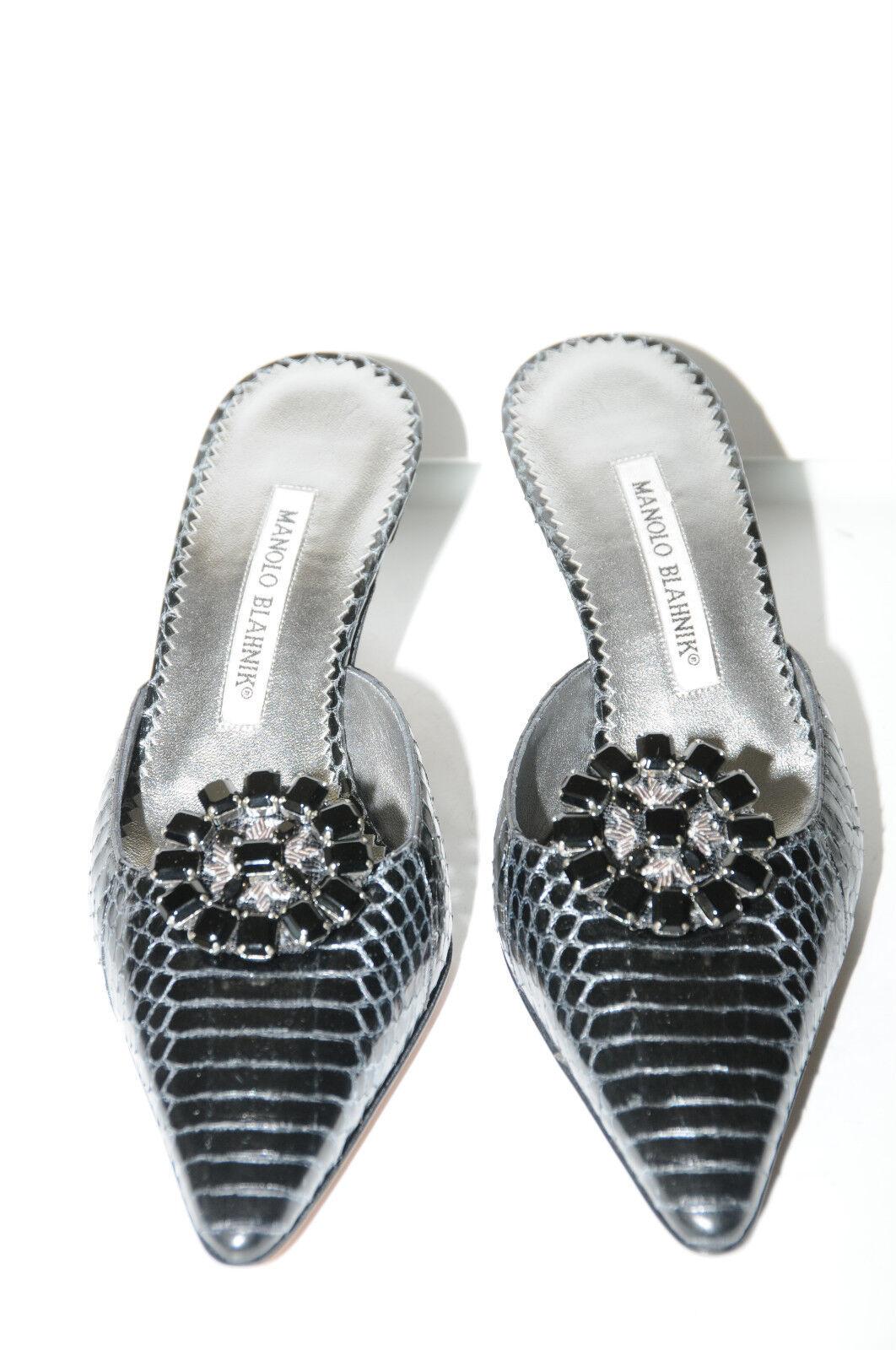 1345 New MANOLO BLAHNIK Black Grey SNAKE Silver Jeweled Kitten Heels SHOES 37