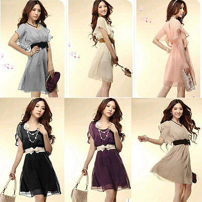 Women Chiffon Dress Short Sleeve Crew Neck Casual Mini Dress Cocktail Summer