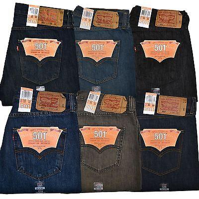 Levis 501 Jeans Mens Original Fit Button Fly All Sizes Light Medium Dark New