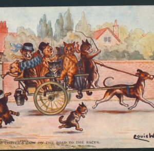 """FAULKNER.. WAIN...""""THE COSTER'S CART"""" MUSICAL,PARTY CATS OFF TO RACES,POSTCARD"""
