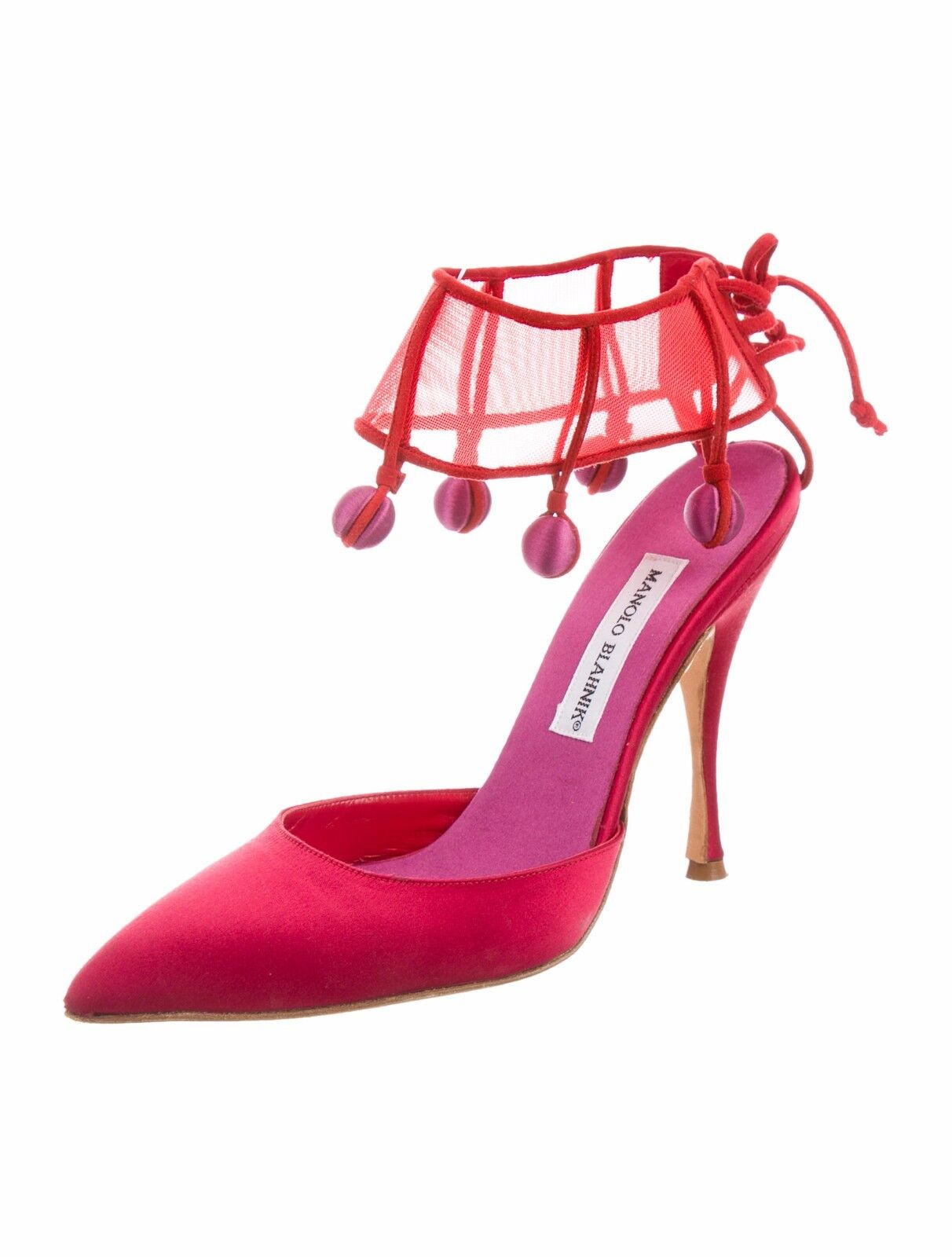1195 NEW MANOLO BLAHNIK ONCIA ONCIA ONCIA Ankle Straps Pom Pom RED Satin SHOES 38 40.5 RARE 3dd57d