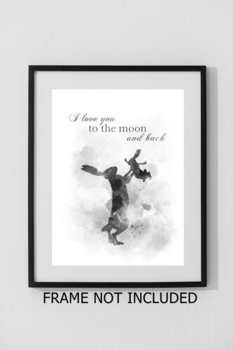 Wall Art Nursery Decor B /& W Gift ART PRINT Guess How Much I Love You Quote