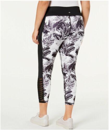 Ideology Womens Plus sz Black Tropic Shadow Printed Mesh Leggings $55 TINI {/&}