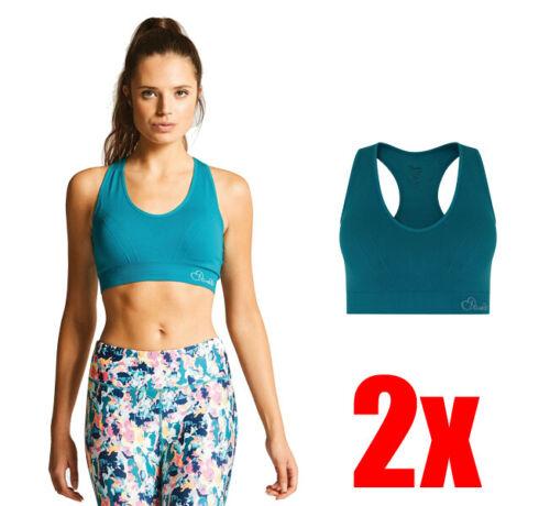 "2 x Dare2b Womens Warm Up Lightweight Stretch Sports Bra Blue XS 28/""-30/"""