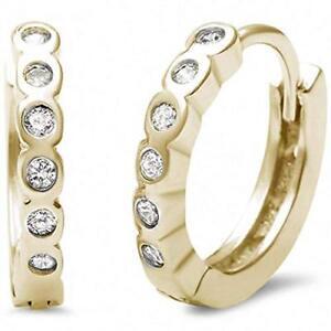 Genuine-Diamond-Huggie-Hoop-Earrings-14k-Yellow-Gold-Sterling-Silver-25-ct