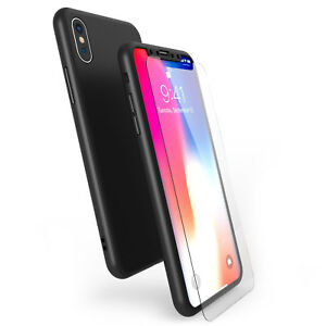 Hybrid-360-Case-For-Apple-iPhone-X-8-amp-Tempered-Glass-Screen-Protector-Cover