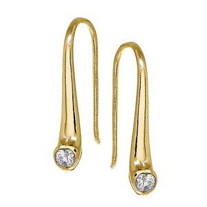 Yellow-Gold-Flashed-Sterling-Silver-CZ-Elongated-Puffed-Teardrop-Hook-Earrings