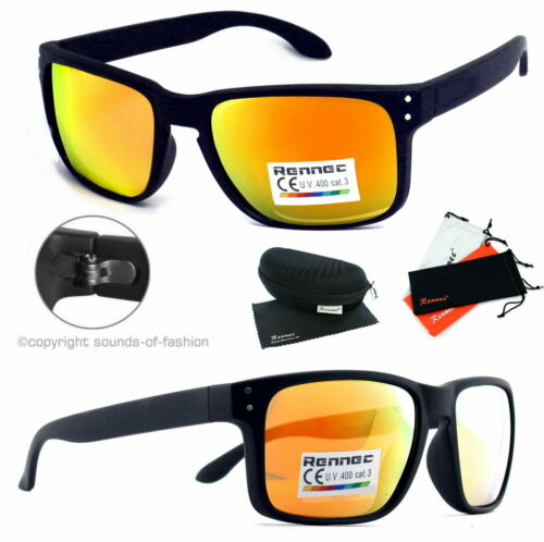 Rennec Uomo Occhiali Da Sole Arancione A SPECCHIO RETTANGOLARE NERD NERO OPACO 14abx