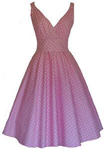 Ladies-40-039-s-50-039-s-Vintage-Retro-Style-Cotton-Pink-Polka-Dot-Party-Tea-Dress-New