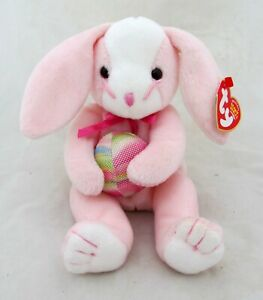 Ty-Beanie-Baby-EGGERTON-Pink-Rabbit-Easter-Bunny-w-Egg-Plush-Toy-Spring-Decor