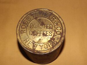 VINTAGE-ROSS-W-WEIR-amp-CO-ROASTED-COFFEES-NEW-YORK-TIN-CAN