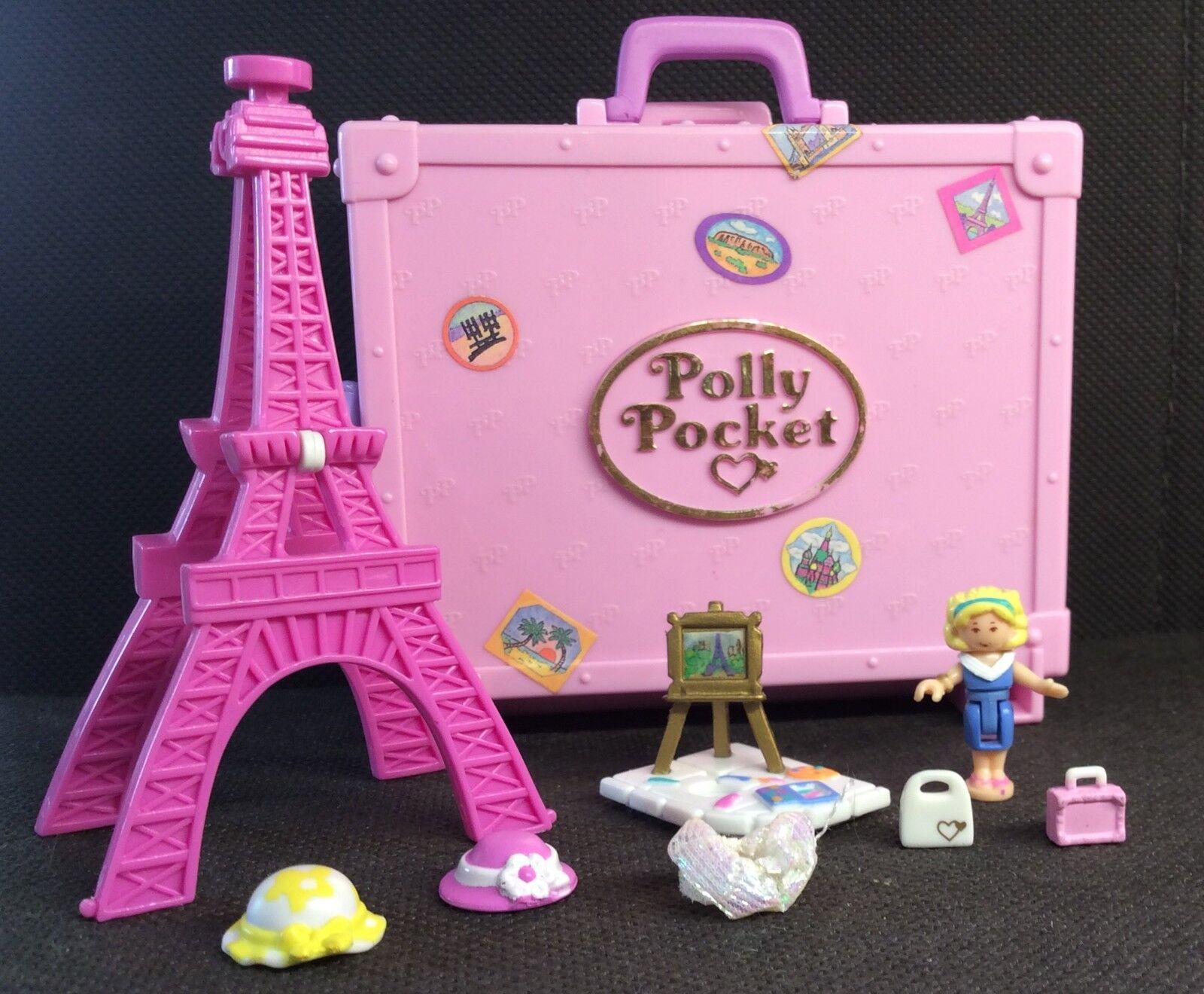 Polly Pocket Mini  1996-Polly en parís-Vacation Fun torre eiffel 100% (1611)