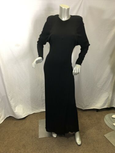 Holly Harp 1980's Vintage  Black  Maxi Dress size