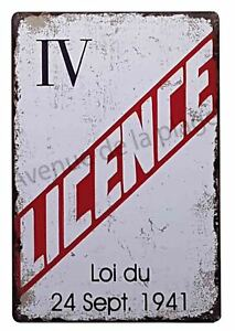 Plaque-vintage-034-Licence-IV-034-pancarte-metal-decoration-de-bar-NEUF