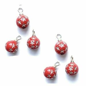 Miniature Dollhouse Christmas Ornaments// 12 Double Silver w// Red