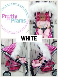 Dolls Pram Hood Fur Trim Grey White Black Pink Brown